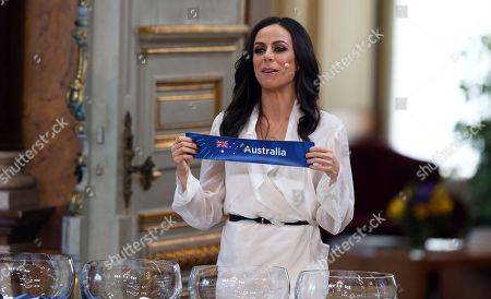 Presenter Filomena Cautela draws the Australia card during the Eurovision Song Contest semifinal allocation draw, at the Lisbon City Hall. The semifinal allocation draw determines which country will participate in which semifinal of the 2018 Eurovision Song Contest to be held in Lisbon in May 2018