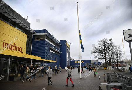 The flag on half stand at IKEA Kungens Kurva, Stockholm