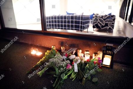 Candles and tributes outside IKEA Älmhult