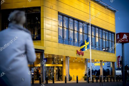 Flag on half mast outside IKEA Älmhult, Sweden, after the death of IKEA founder Ingvar Kamprad