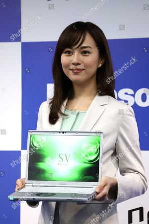 """Japanese actress Manami Higa attends a presentation of Japanese electronics giant Panasonic's notebook computer """"Let's note SV7"""""""