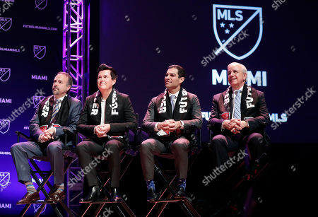 Jose Mas, Simon Fuller, Francis Suarez, Carlos Gimenez. Jose Mas, left, Simon Fuller, Miami Mayor Francis Suarez, and Miami-Dade County Mayor Carlos Gimenez, right, attend an event where it was announced that Major League Soccer is bringing an expansion team to Miami, in Miami. The team is backed by David Beckham and a group of investors