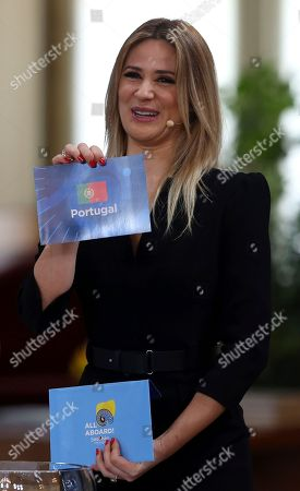 Presenter Silvia Alberto during the Eurovision Song Contest semifinal allocation draw, at the Lisbon City Hall. Alberto will present the finals of the 2018 Eurovision Song Contest to be held in Lisbon in May 2018
