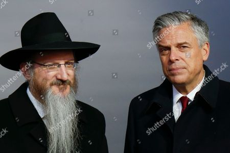 Berel Lazar, Jon Huntsman Jr. Russia's chief rabbi, Berel Lazar, left, and U.S. Ambassador to Russia Jon Huntsman Jr. attend an opening ceremony of the stone of the memorial to members of the resistance at Nazis concentration camps during WW II, at the Jewish Museum and Center for Tolerance in Moscow, Russia