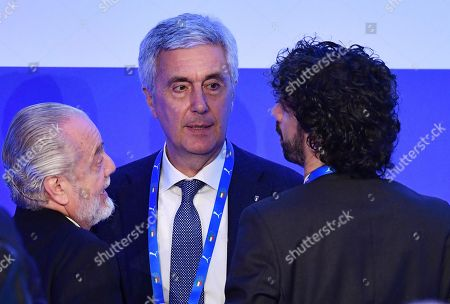 Amateur League president Cosimo Sibilia (C), Footballers' Association president Damiano Tommasi (R), and Napoli's CEO Aurelio De Laurentiis talk during a press conference on the elections of a new Italian Soccer Federation (FIGC) president in Rome, Itlay, 29 January 2018. The FIGC leaders gathered in Rome to elect their new president but failed to elect a new chief of the Italian Soccer Federation (FIGC) and a commissioner beckoned to replace Carlo Tavecchio. The failure came after amateur league candidate Cosimo Sibilia told his supporters to file blank ballots, meaning that his remaining rival, Soccer League candidate Gabriele Gravina, would not have the necessary majority of the vote to replace Tavecchio. In the final ballot the blank ballots won out with 59 percent of the vote.