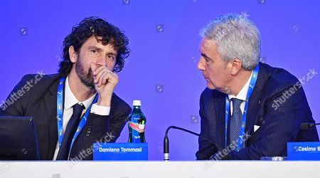 Amateur League president Cosimo Sibilia (R) and Footballers' Association president Damiano Tommasi (L) talk during a press conference on the elections of a new Italian Soccer Federation (FIGC) president in Rome, Itlay, 29 January 2018. The FIGC leaders gathered in Rome to elect their new president but failed to elect a new chief of the Italian Soccer Federation (FIGC) and a commissioner beckoned to replace Carlo Tavecchio. The failure came after amateur league candidate Cosimo Sibilia told his supporters to file blank ballots, meaning that his remaining rival, Soccer League candidate Gabriele Gravina, would not have the necessary majority of the vote to replace Tavecchio. In the final ballot the blank ballots won out with 59 percent of the vote.