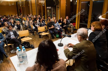 Concentration camp survivor Volodymyr Iwanowitsch Dshelali speaks during a contemporary witness talk in in the context of the International Youth Meeting of the Bundestag at the Max Mannheimer Studienzentrum in Dachau near Munich, Bavaria, Germany, 29 January 2018. Eighty young people, who deal with the history of National Socialism or who are committed to combating anti-Semitism and racism, took part in the Bundestag's International Youth Meeting this year. They dealt in particular with the fates of people who resisted National Socialism for reasons of conscience.