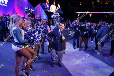 Philadelphia Eagles cheerleaders with TV personality Guillermo Rodriguez during the Super Bowl LII Opening Night at Xcel Energy Center in St. Paul, MN