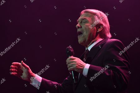 Stock Image of Belgian-Italian singer Salvatore Adamo during his concert at Nuevo Apolo theater