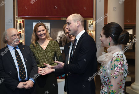 Stock Picture of Professor Duncan Haldane, Nobel prize physics laureate 2006, Professor Anna Wedell, Chair of the Nobel Committee for Physiology or Medicine, Prince William, Prince William, and Sweden's Crown Princess Victoria