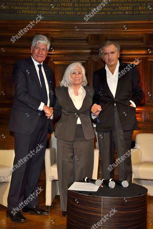 Maurice Levy, Widow of Elie Wiesel, Marion Wiesel and Bernard-Henri Levy