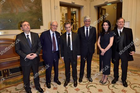 Rector of the academic region Ile de France and Rector of Paris Gilles Pecout, President of the foundation of the Memory of the Shoah, Baron David de Rothschild, Nicolas Sarkozy, Maurice Levy, Marie Drucker and Francis Huster