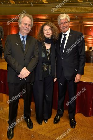 Franz Olivier Giesbert, his wife Valerie Toranian and Maurice Levy