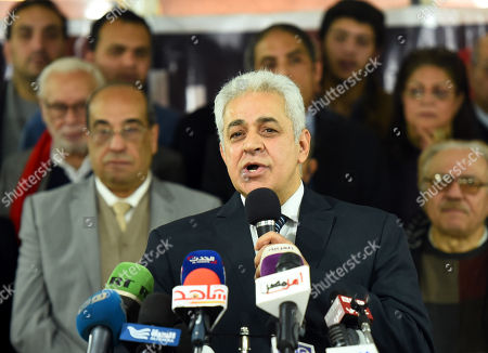 Stock Image of Egypt's former presidential candidate in the 2014 elections Hamdeen Sabahi attends a press conference of Egyptian opposition in Cairo, Egypt, 30 January 2018. Moussa Mustafa Moussa, of the al-Ghad Party, registered at the last minute to challenge President Abdel Fattah al-Sisi in the March presidential election. Egypt will hold the Presidential elections on the period between 16 to 18 March and 26 to 28 March for Egyptian abroad and locally respectively.