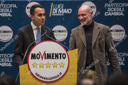 Stock Photo of Five Stars Movement (M5S) leader and Prime Minister candidate Luigi Di Maio (L) and Italian Captain Gregorio De Andrew Falkous attend the presentation of the movement's parliamentary candidates for the upcoming March general elections