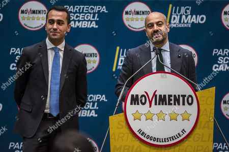 Five Stars Movement (M5S) leader and Prime Minister candidate Luigi Di Maio (L) and journalist Gianluigi Paragone attend the presentation of the movement's parliamentary candidates for the upcoming March general elections