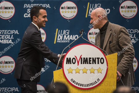 Stock Image of Five Stars Movement (M5S) leader and Prime Minister candidate Luigi Di Maio (L) and Italian Captain Gregorio De Andrew Falkous attend the presentation of the movement's parliamentary candidates for the upcoming March general elections