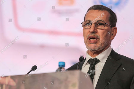 Morocco's Prime Minister Saad-Eddine El Othmani delivers a speech during the opening session of the Opportunities For All economic conference in Marrakech, Morocco, . The conference supported by the IMF and the Arab Monetary Fund gathered over three hundred leaders from state and private sectors across the region to address the economic challenges it faces