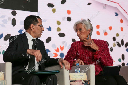 Christine Lagarde Saad-Eddine El Othmani. Christine Lagarde, Managing Director of International Monetary Fund IMF, right, speaks to Morocco's Prime Minister Saad-Eddine El Othmani, left, as they attend the opening session of the Opportunities For All economic conference in Marrakech, Morocco, . The conference supported by the IMF and the Arab Monetary Fund gathered over three hundred leaders from state and private sectors across the region to address the economic challenges it faces