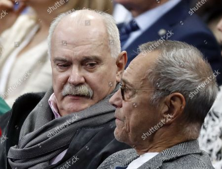 Brothers, film directors Nikita Mikhalkov (L) and Andrei (Andron) Mikhalkov-Konchalovsky (R) attend a meeting of confidants of Putin's presidential campaign in the upcoming presidential elections in Moscow, Russia, 30 January 2018. Presidential elections in Russia will take place on 18 March 2018.