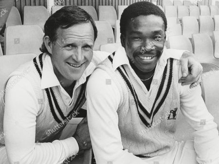 Cricket legend Dennis Amiss (left) with Gladstone Small. Small had been selected for England. August 1986