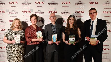 (L-R) Nominees for the Costa Book Awards 2018, Gail Honeyman, Rebecca Stott, Jon McGregor, Katherine Rundell and Patrick Charnley (son of nominee Helen Dunmore) at the Costa Book Awards in London, Britain, 30 January 2018.
