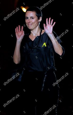 Spanish designer Miriam Ponsa greets the audience after a parade at the 080 Fashion Barcelona, in Barcelona, Spain, 30 January 2018. The 080 Barcelona Fashion shows will be presented until 02 February 2018.
