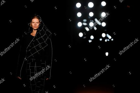 Stock Photo of A model presents a creation of the Spanish designer Miriam Ponsa collection at the 080 Fashion Barcelona, in Barcelona, Spain, 30 January 2018. The 080 Barcelona Fashion shows will be presented until 02 February 2018.