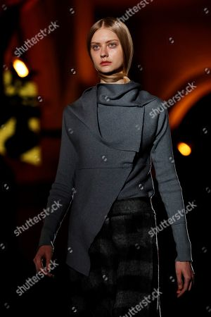 A model presents a creation of the Spanish designer Miriam Ponsa collection at the 080 Fashion Barcelona, in Barcelona, Spain, 30 January 2018. The 080 Barcelona Fashion shows will be presented until 02 February 2018.