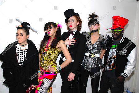 Namalee Bolle (second left) in New Rave styles and a group of club kids posing Anti Social London December 2006