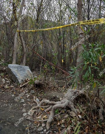 """This photo show the spot where Mark Salling, who played Noah """"Puck"""" Puckerman in the hit musical-comedy """"Glee,"""" was found dead in a remote area of Big Tujunga Canyon in the Sunland-Tujunga area of Los Angeles"""