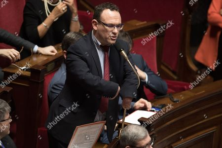 Stock Photo of Damien Abad attends the weekly session of the questions to the government at French parliament.