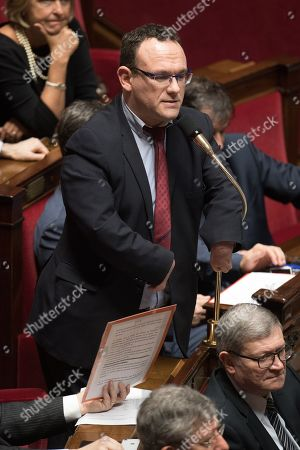 Damien Abad attends the weekly session of the questions to the government at French parliament.