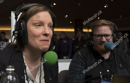 British Sports Minister Tracey Crouch being interviewed on Radio Row at the Super Bowl Media Centre