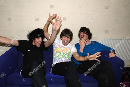 Jamie Reynolds James Righton and Simon Taylor Davis Klaxons backstage Klaxons gig February 2007