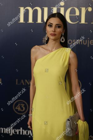 Mexican model Deborah Hung poses for the photographers upon her arrival in Spanish magazine 'Mujer Hoy' (Women Today)'s awarding gala in Madrid, Spain, late 30 January 2018. The magazine honors most Spanish outstanding women each year.