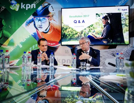 Stock Picture of CFO of KPN Jan Kees de Jager (L) and CEO Eelco Blok (R) during presentation on the company annual figures of 2017 in Amsterdam, The Netherlands, 31 January 2018.