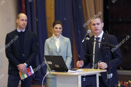 Gustav Fridolin, Prince William, Crown Princess Victoria visit to Matteusskolan, Stockholm