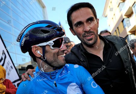 Spanish rider Alejandro Valverde (L) talks with Former Spanish cyclist Alberto Contador (R) before the start of the Volta a la Comunitat Valenciana Cycling Race first stage between Oropesa and Peniscola, in Castellon, Spain, 31 January 2018.