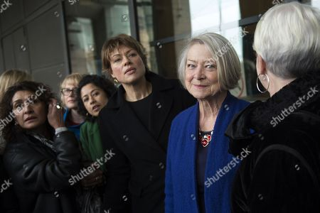 Former and present female BBC television and radio presenters including Kate Silverton, (C-L), Kate Adie (C-R) arrive at Portcullis House, Central London, Britain, 31 January 2017. The House of Commons Digital, Culture, Media and Sport Committee has been hearing evidence from former BBC China Editor Carrie Gracie and BBC Director General Tony Hall in relation to pay inequality at the broadcasting organisation.
