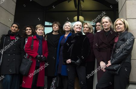 Former and present female BBC television and radio presenters including Mariella Frostrup (R), Kate Adie (C), Kate Silverton (C-L) and Naga Munchetty (L) arrive at Portcullis House, Central London, Britain, 31 January 2017. The House of Commons Digital, Culture, Media and Sport Committee has been hearing evidence from former BBC China Editor Carrie Gracie and BBC Director General Tony Hall in relation to pay inequality at the broadcasting organisation.