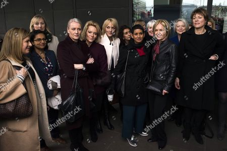 Former and present female BBC television and radio presenters including Kate Silverton, (R), Kate Adie (2-R), Mariella Frostrup (3-R), Louise Minchin (C-L) and Naga Munchetty (C) arrive at Portcullis House, Central London, Britain, 31 January 2017. The House of Commons Digital, Culture, Media and Sport Committee has been hearing evidence from former BBC China Editor Carrie Gracie and BBC Director General Tony Hall in relation to pay inequality at the broadcasting organisation.