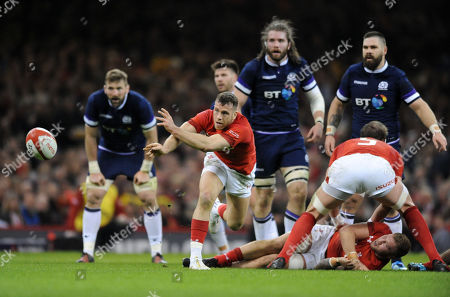 Gareth Davies - Wles scrum half clears the danger from a ruck as (L to R)  - John Barclay, Ben Toolis and Cornell du Preez look on. Wales v Scotland, Six Nations Championship, Millennium Stadium, Cardiff, Wales, Saturday 3rd February 2018. ***Please credit: ©Fotosport/David Gibson***