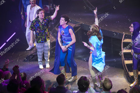 Daniel Buckley (Feris), Liam Forde (Eugene) and Laura Baldwin (Janey) during the curtain call
