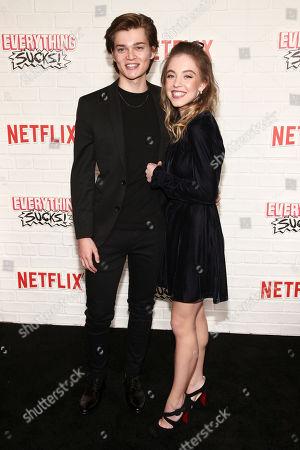 "Elijah Stevenson, Sydney Sweeney. Elijah Stevenson, left, and Sydney Sweeney, right, attend the season one premiere of Netflix's ""Everything Sucks!"" at AMC 34th Street, in New York"