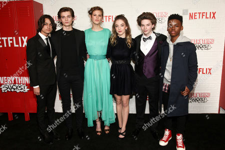 "Rio Mangini, Elijah Stevenson, Peyton Kennedy, Sydney Sweeney, Quinn Liebling, Jahi Di'Allo Winston. Rio Mangini, from left, Elijah Stevenson, Peyton Kennedy, Sydney Sweeney, Quinn Liebling and Jahi Di'Allo Winston attend the season one premiere of Netflix's ""Everything Sucks!"" at AMC 34th Street, in New York"