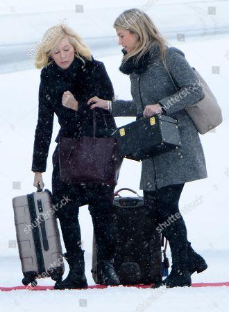 Amanda Cook Tucker and Natasha Archer at Oslo Gardermoen Airport