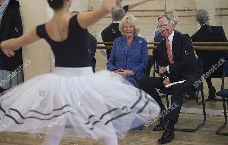 Camilla Duchess of Cornwall watching classes with Chief Executive Luke Rittner CBE