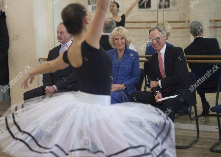 Stock Image of Camilla Duchess of Cornwall watching classes with Chief Executive Luke Rittner CBE