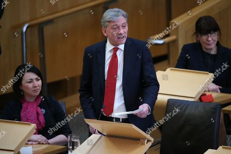 Stock Image of Scottish Parliament First Minister's Questions - Monica Lennon, Richard Leonard, Leader of the Scottish Labour Party and Mary Fee